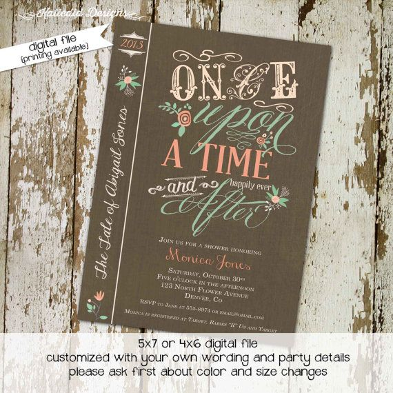 storybook baby shower invitation once upon a time floral baby girl, Baby shower invitations