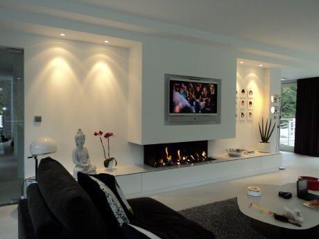 tv en open haard in woonkamer - Google zoeken | Contemporary Decor ...