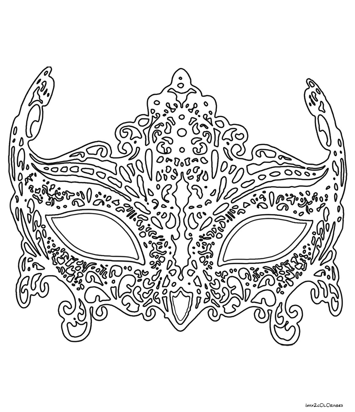 Coloriage masque de venise en dentelle clown pinterest adult coloring and masking - Coloriage masque ...