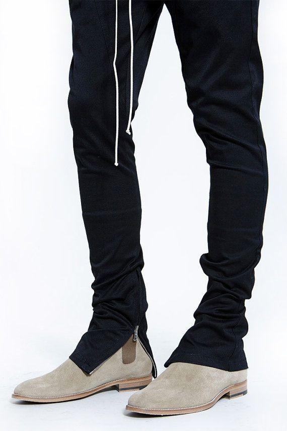 046a2b70 The Drawstring Trouser Ankle Zipper Pants - Italian Black Cotton ...