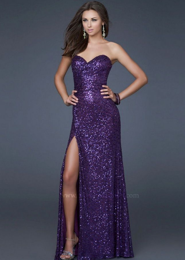 Long Purple Sequined Sweetheart La Femme 16546 Prom Dress With ...