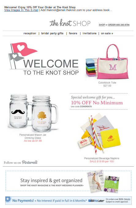 The Knot Shop Wedding Registry Email 2014 Email Marketing Design Bridal Party Gifts Wedding Shop
