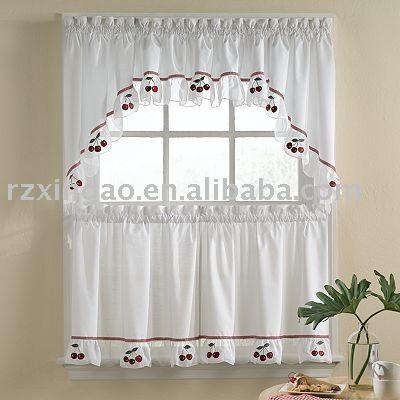 Cherry bordado cortina de la cocina cortinas - Cortinas para cocina fotos ...