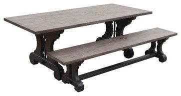 Gothic Reclaimed Wood Trestle Dining Table Mediterranean Dining