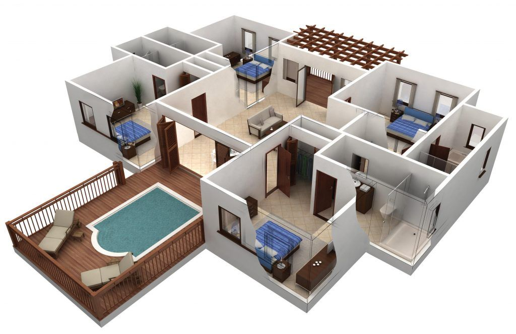4 Bedroom Single Story House Plans 3d Building Plans House 3d House Plans House Floor Plans