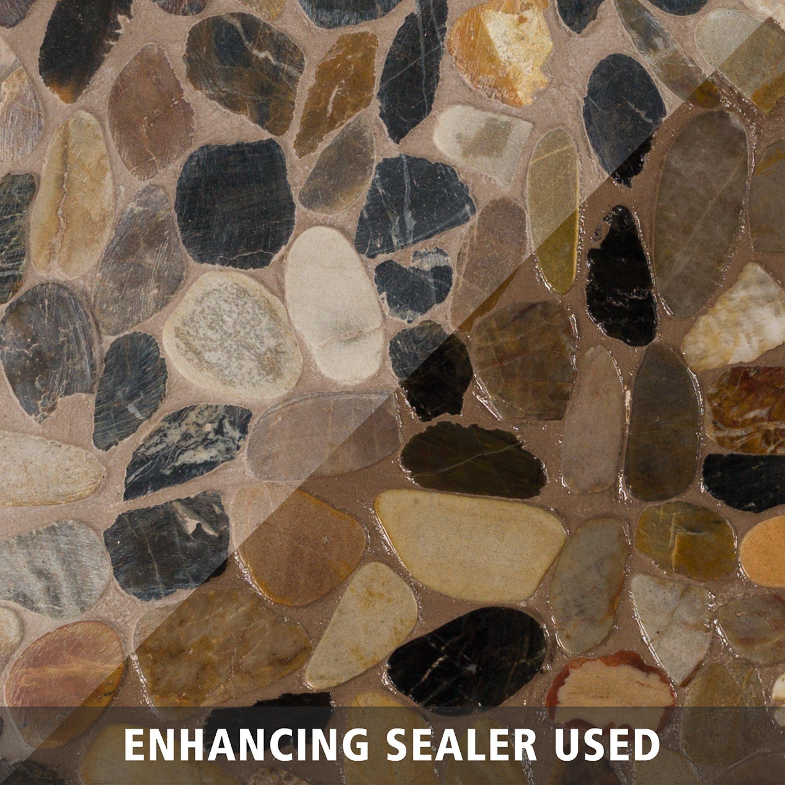 Flat Mixed Honed Pebble Mosaic Pebble Mosaic Pebble Stone Mosaic