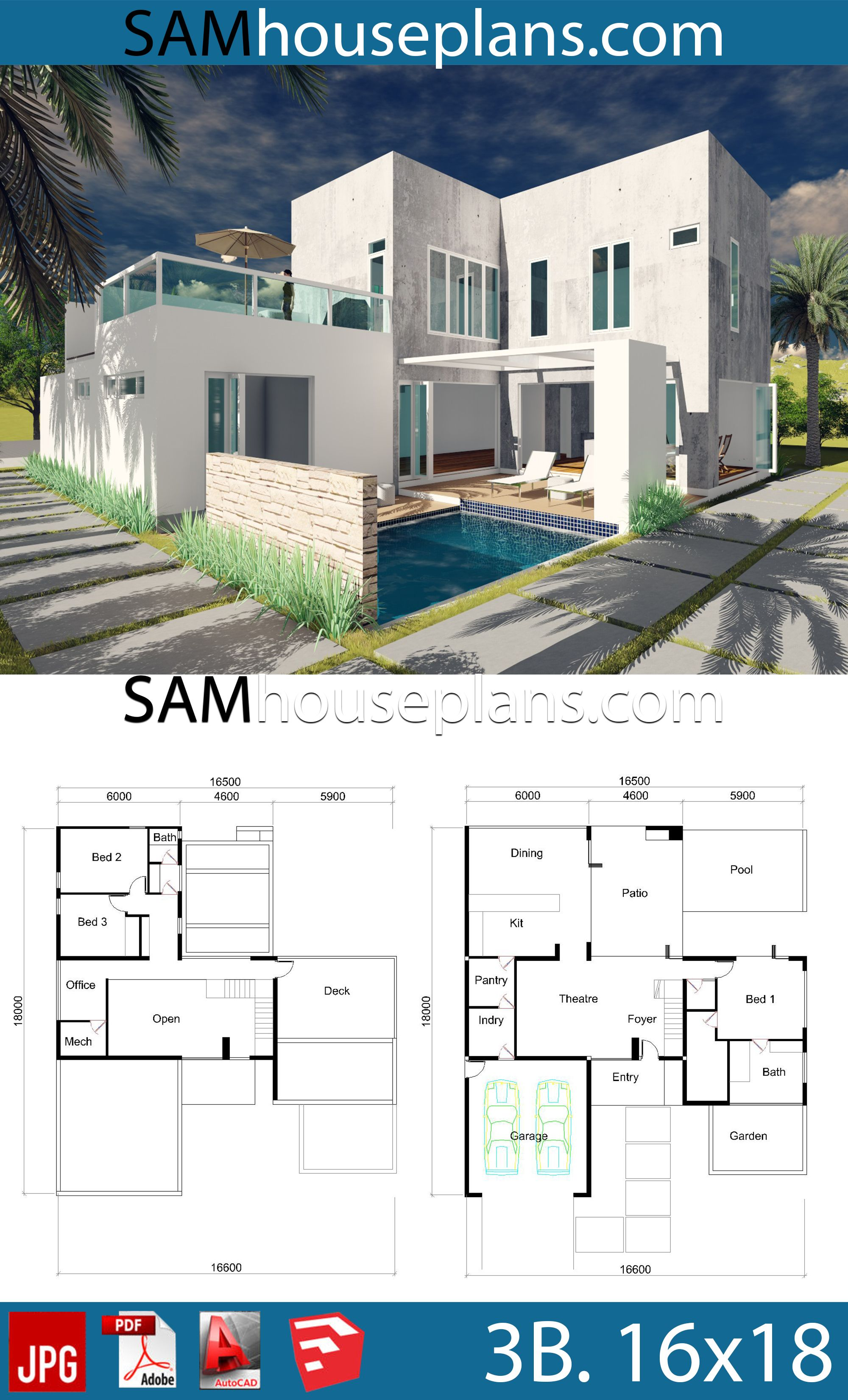 House Plans 16x18 With 3 Bedrooms House Plans Free Downloads Modern House Floor Plans Bungalow House Design House Plans