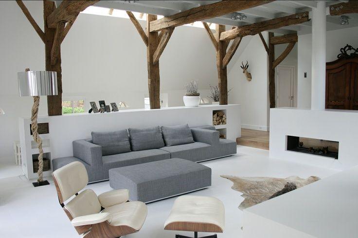 Afbeeldingsresultaat voor plafond balken wit schilderen voorlopig pinterest balken houten - Houten balkenplafond ...