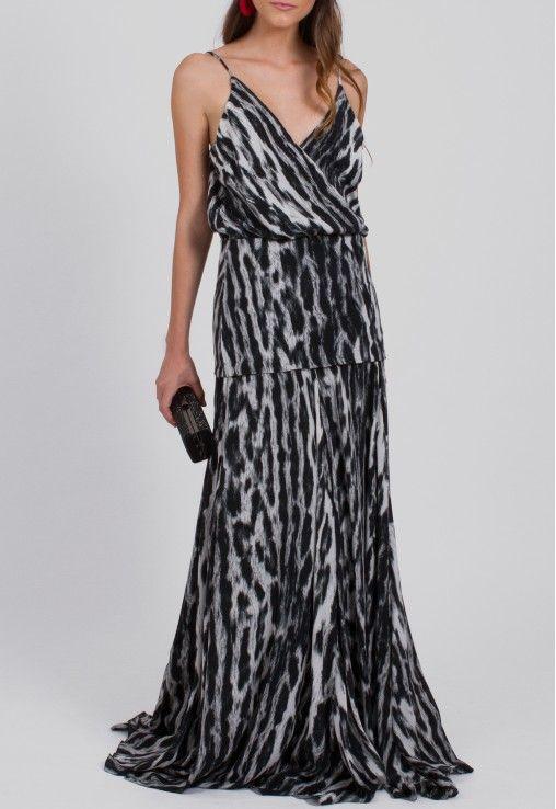 7c53378481 POWERLOOK - Aluguel de Vestidos Online - Vestido Elva longo com pala no  quadril animal print