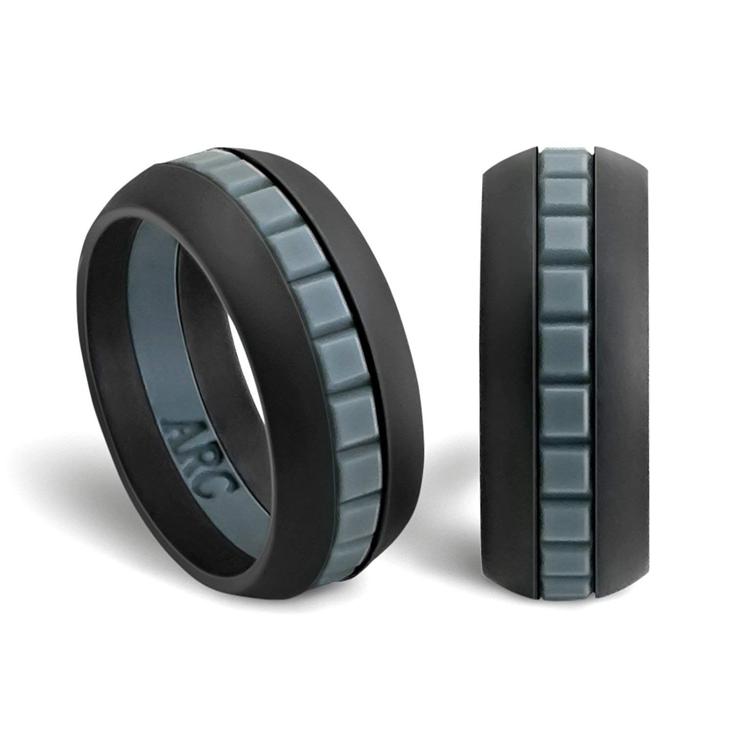 Men S Metallic Score Strata Silver And Black Silicone Ring Silicone Rings Mens Wedding Rings Unique Clean Gold Jewelry
