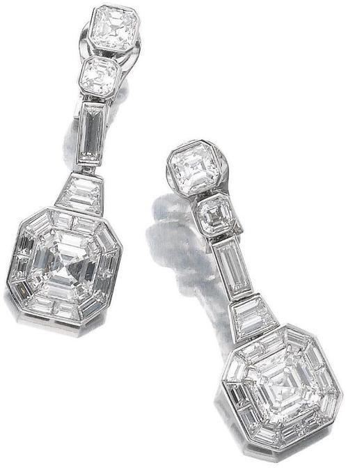 Pair of diamond pendant earrings, Bulgari.
