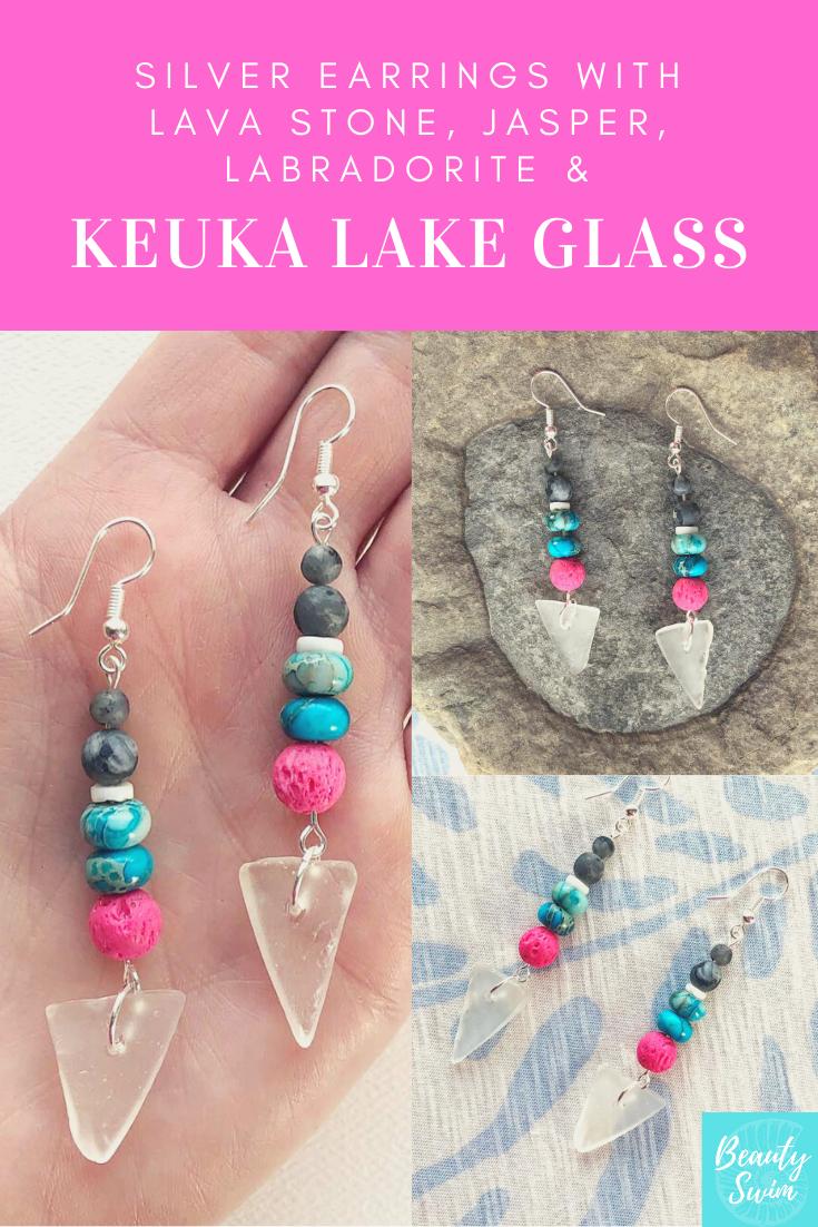 Keuka Lake Glass Jewelry  Rare Purple Glass  Finger Lakes Jewelry  Keuka Lake Necklace  Keuka Lake Silver Jewelry  Keuka Lake New York
