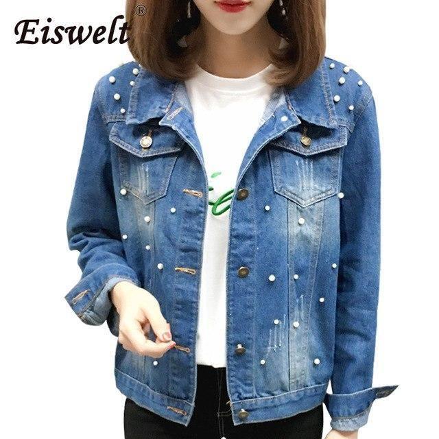 68163c61ece Pearl Beads Basic Denim Jacket for Women Casual Casaco Feminino Female  Jacket Jean Vintage Coat Jackets Plus Size Women Black