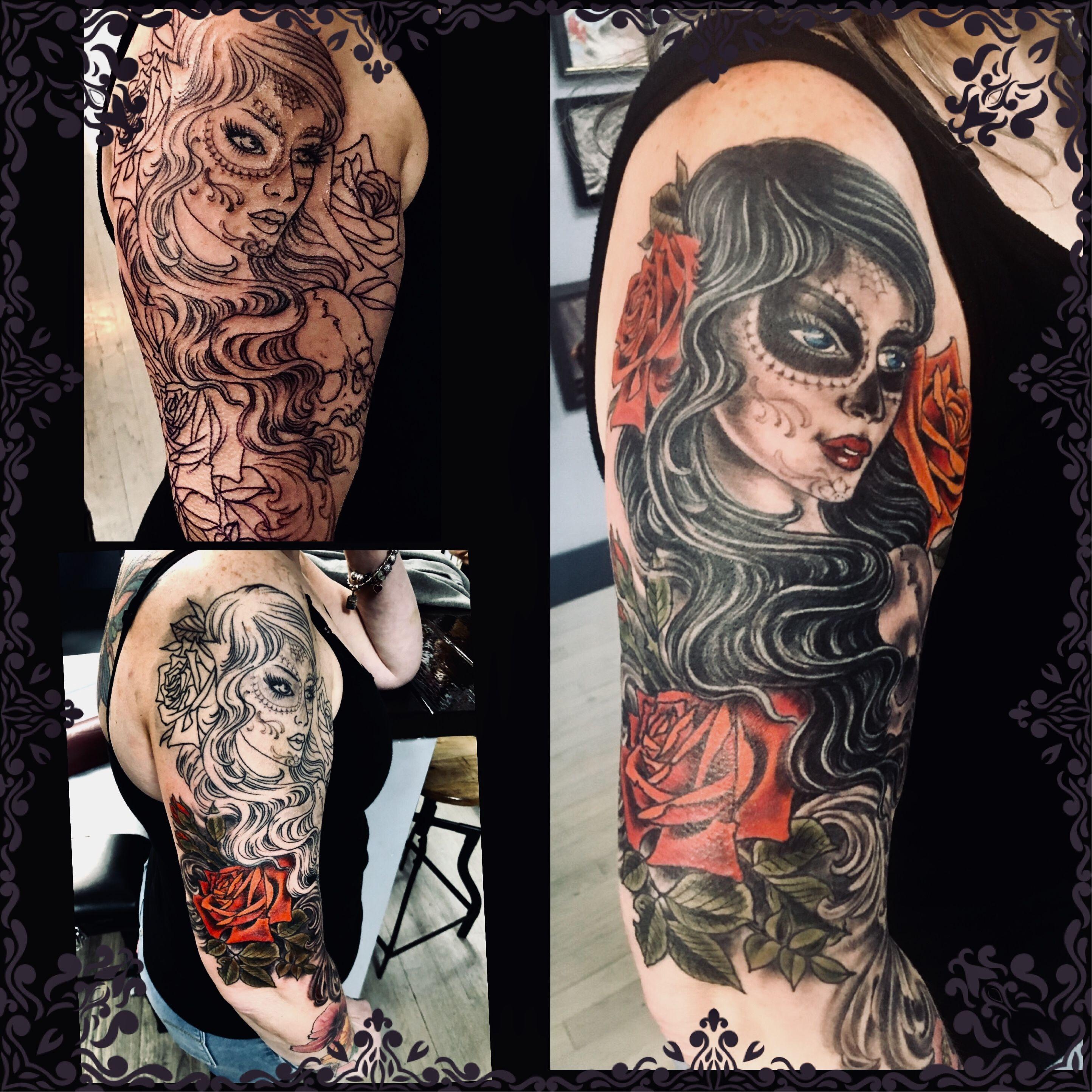 #tattooedwomen #rosetatto #dayofthedeadtattoo #girlswithtattoos #loyaltytattoony #erikdesmondtattoo #skulltattoo #tattooscool #ilovemytattoo