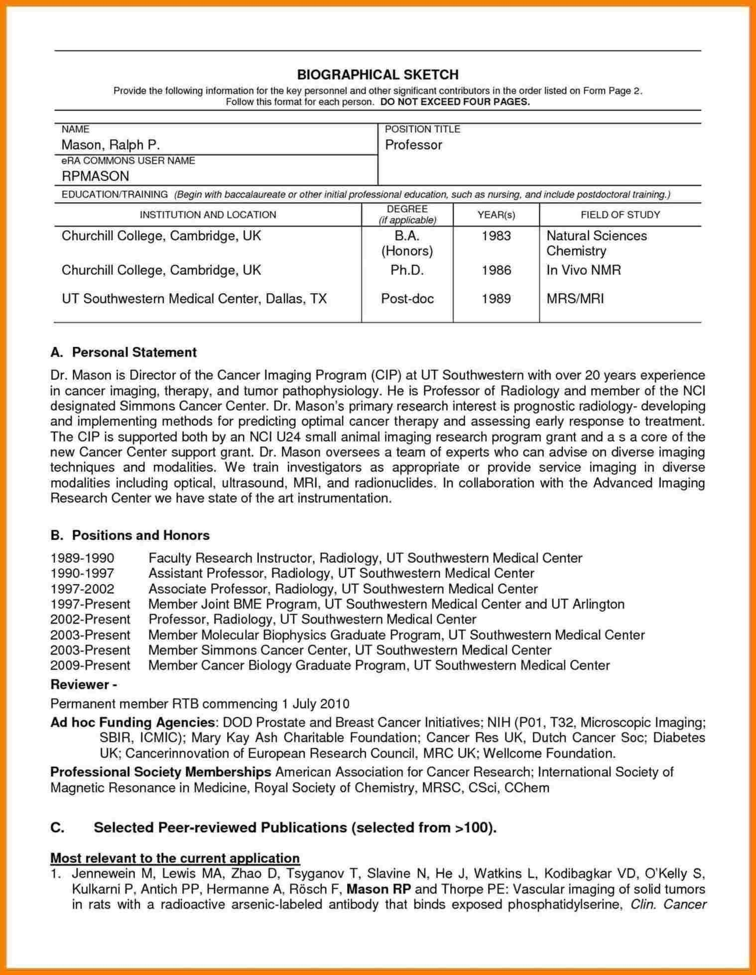Nih Biosketch Template Doc Digitalhiten Within 54437 Word Design Resume Words Personal Statement Examples Example