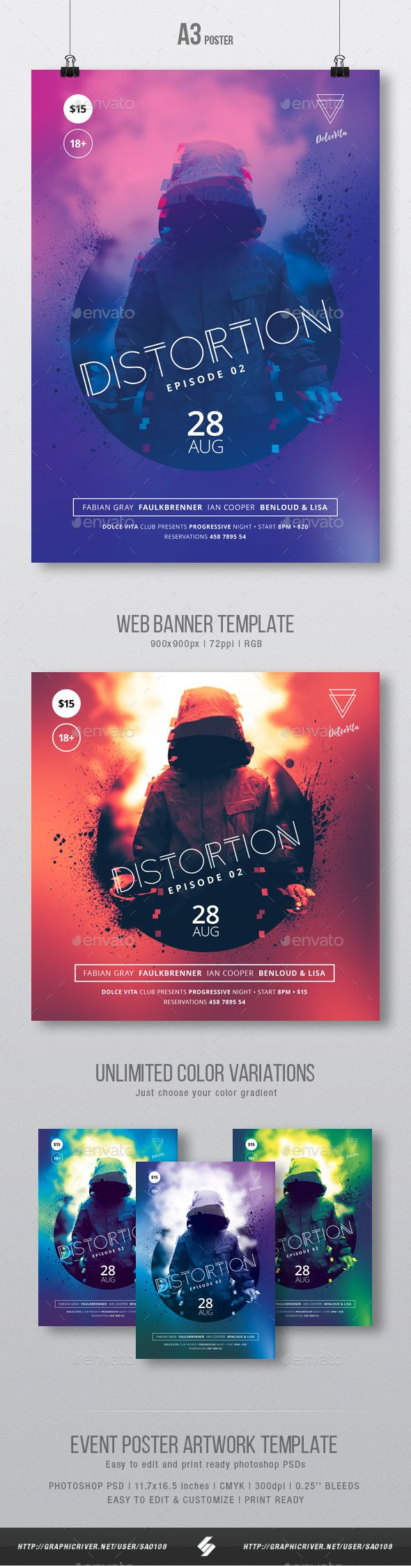 Distortion   Underground Party Flyer  Poster Template A