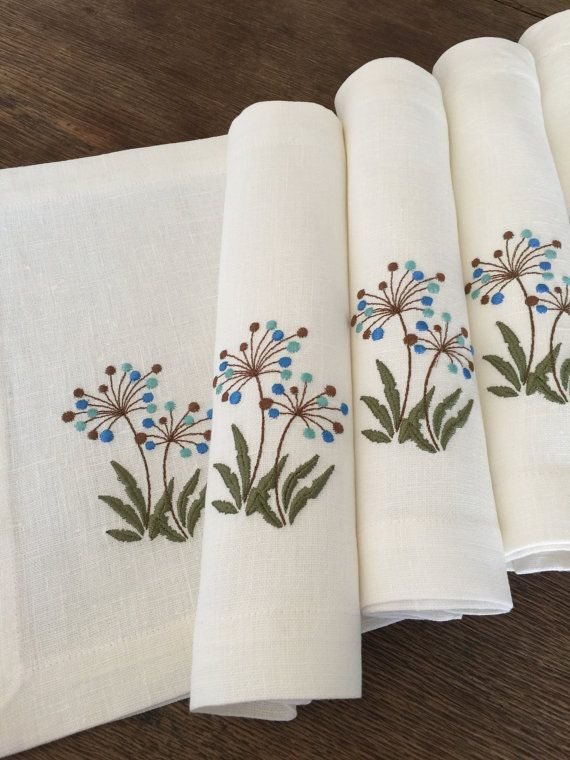 Linen Placemats Set Of 6 Embroidery Linen Table Linen Table Top Fabric Placemat White Hand Embroidery Ribbon Embroidery Hand Embroidery Patterns
