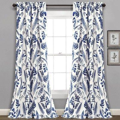 Set Of 2 95 X52 Devonia Allover Room Darkening Window Curtain Panels Blue White Lush Decor In 2020 White Paneling Lush Decor Panel Curtains