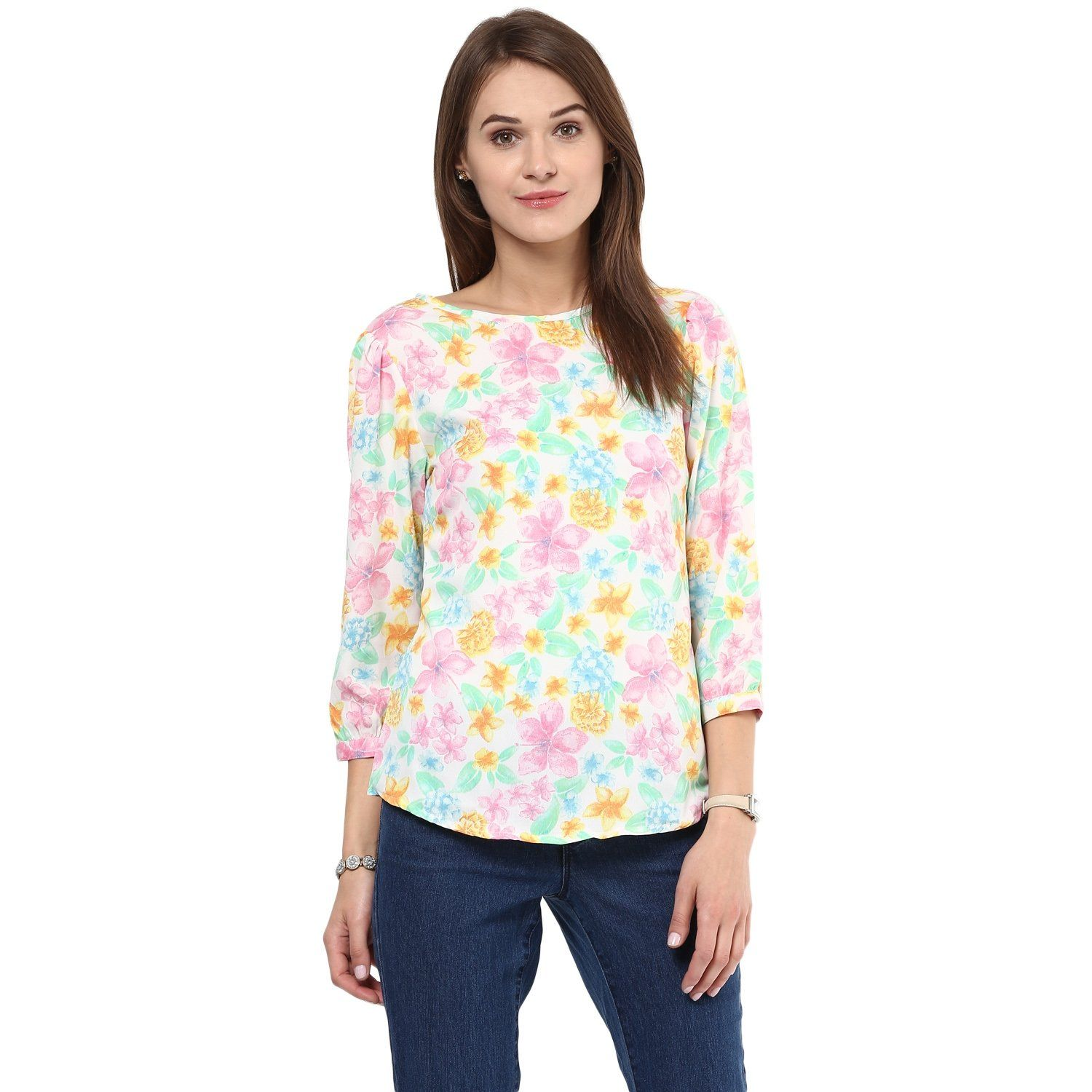fbc23b3c3b048a Buy Arovi Casual Floral Print Women s Crepe Top Online at Low prices in  India on Winsant