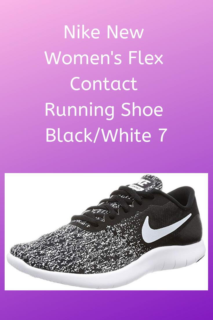 1b1736251a20 Nike New Women s Flex Contact Running Shoe Black White 7 Circular-knit  pattern through