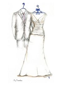 First Anniversary Gifts For Wife. Wedding dress sketch and suit ...