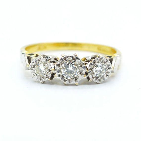 Vintage Engagement Ring 18ct 18k Antique Three Stone Diamond Etsy Vintage Engagement Rings Trilogy Engagement Ring Antique Engagement Rings Vintage