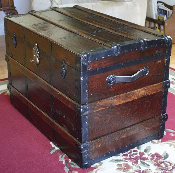 Antique Trunk Restored Etsy Antique Trunk Antique Steamer Trunk Antique Trunk Restoration