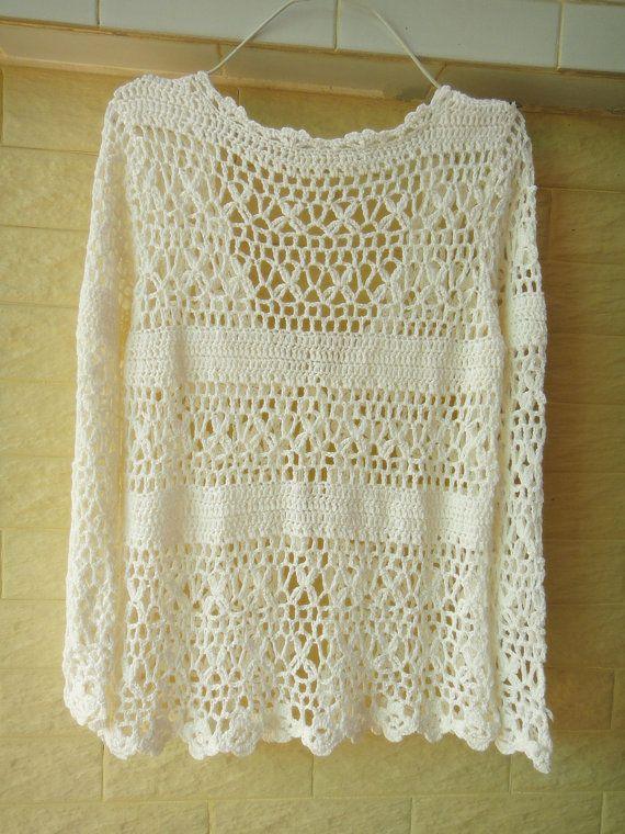 Crochet Cardigan Long Sleeve White Womens por Tinacrochetstudio ...
