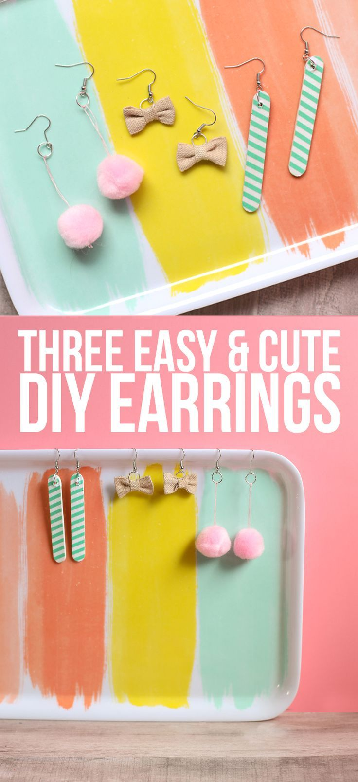 Three super cute and easy DIY earrings you can make in minutes. Love these! #earrings #crafts #jewelry