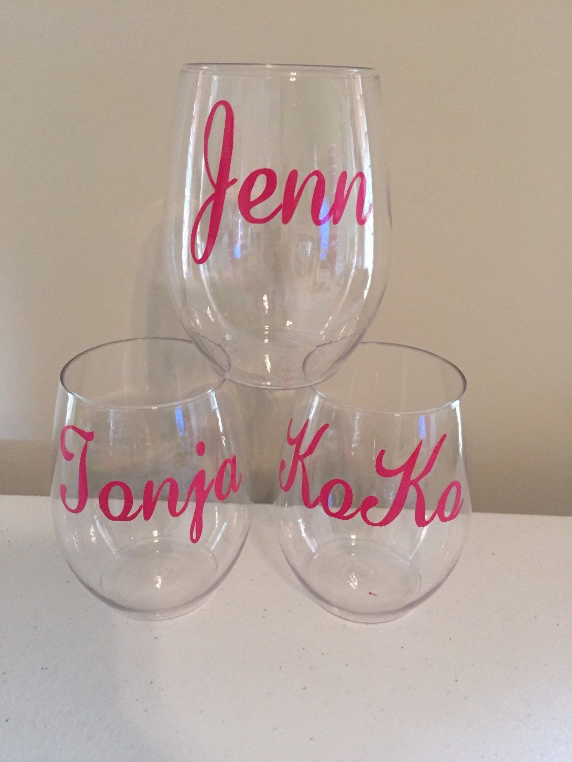 Personalized Plastic stemless Wine glass by Craftylilthang on Etsy https://www.etsy.com/listing/247215491/personalized-plastic-stemless-wine-glass