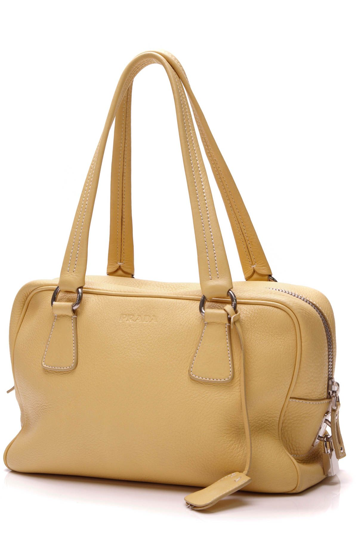 Vitello Shoulder Bag Yellow Leather Bags, Leather