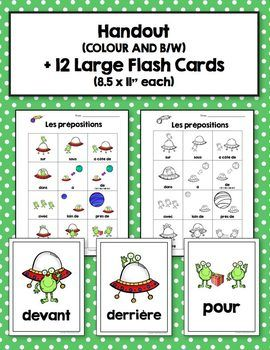 les pr positions french prepositions large flash cards and word wall french learning french. Black Bedroom Furniture Sets. Home Design Ideas