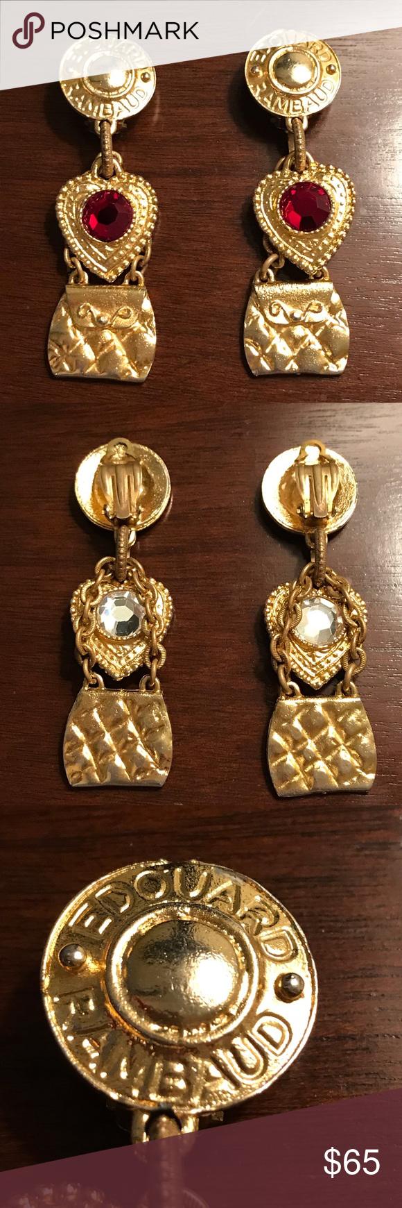 Clip on earrings gold tone vintage accessory Edouard Rambaud Paris
