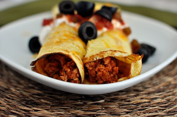 Taco Enchiladas with Cornmeal Crepes.... we love these and use the leftover crepes for breakfast