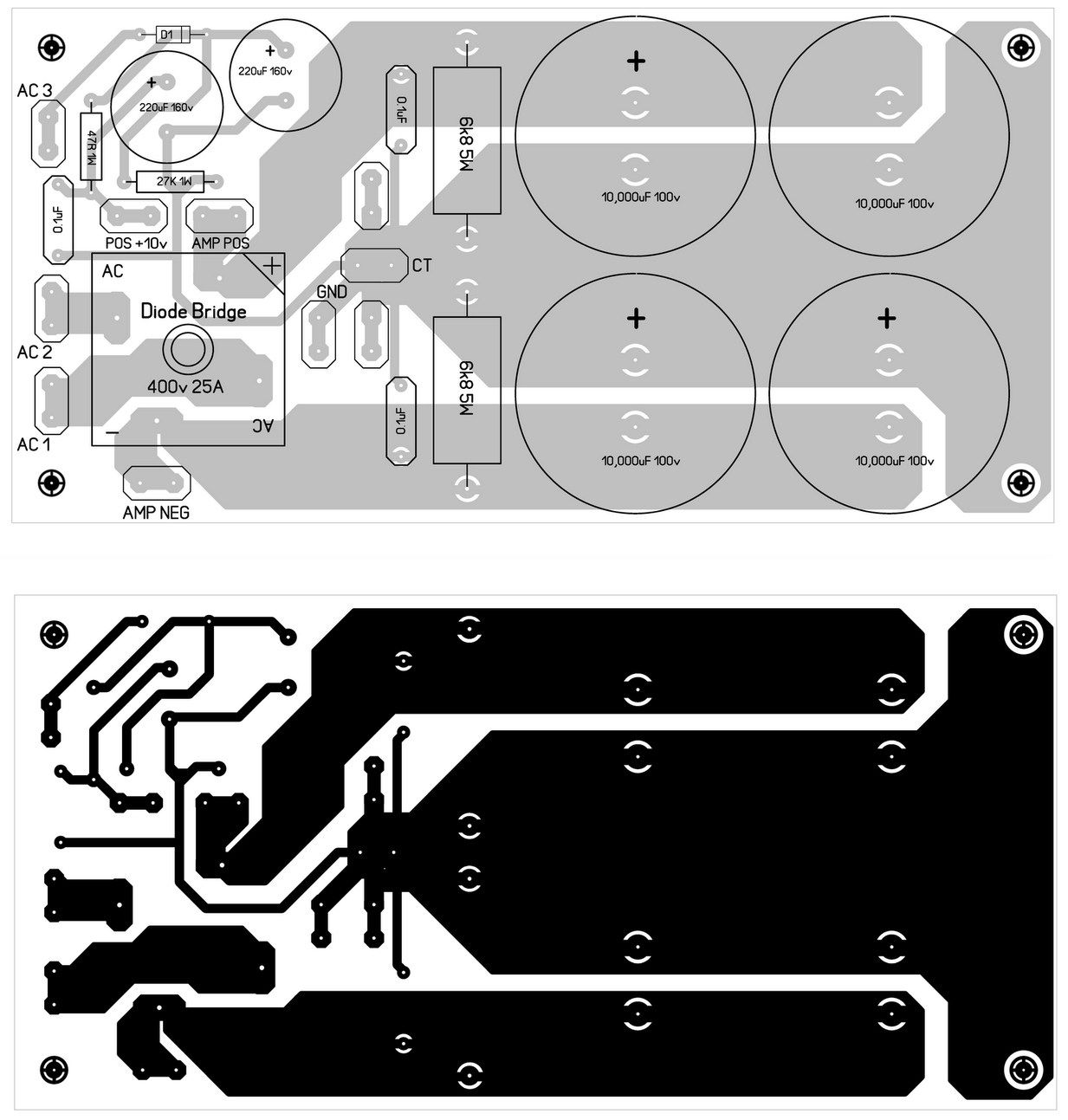 hight resolution of power supply pcb design for 600w mosfet power amplifier