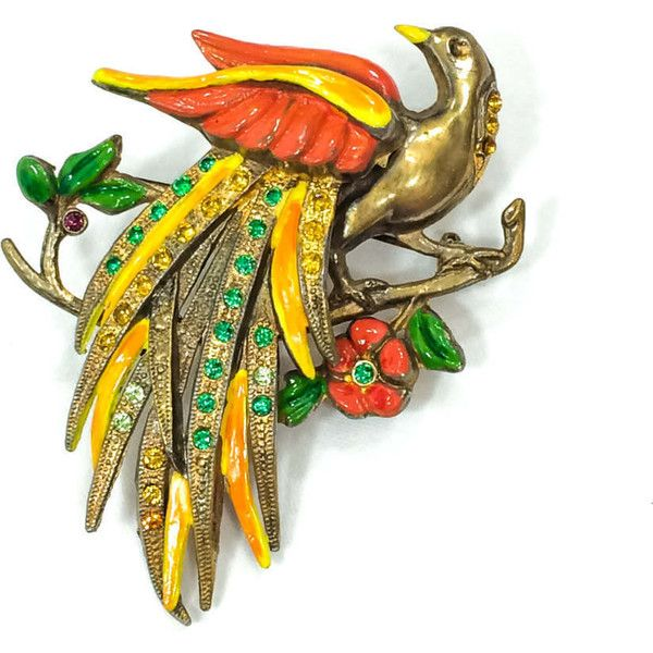 Large Bird Brooch Retro Brooch Tropical Bird Of Paradise Orange 38 Liked On Polyvore Featuring Jew Vintage Rhinestone Brooch Red Jewelry Bird Brooch