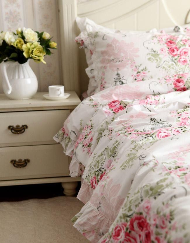 Victorian Pink Rose Duvet Cover Set Chic Bedroom Rose Bedding
