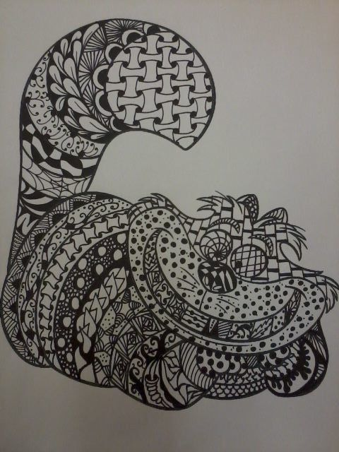 Zentangle Cheshire Cat From Alice In Wonderland Drawing Instant