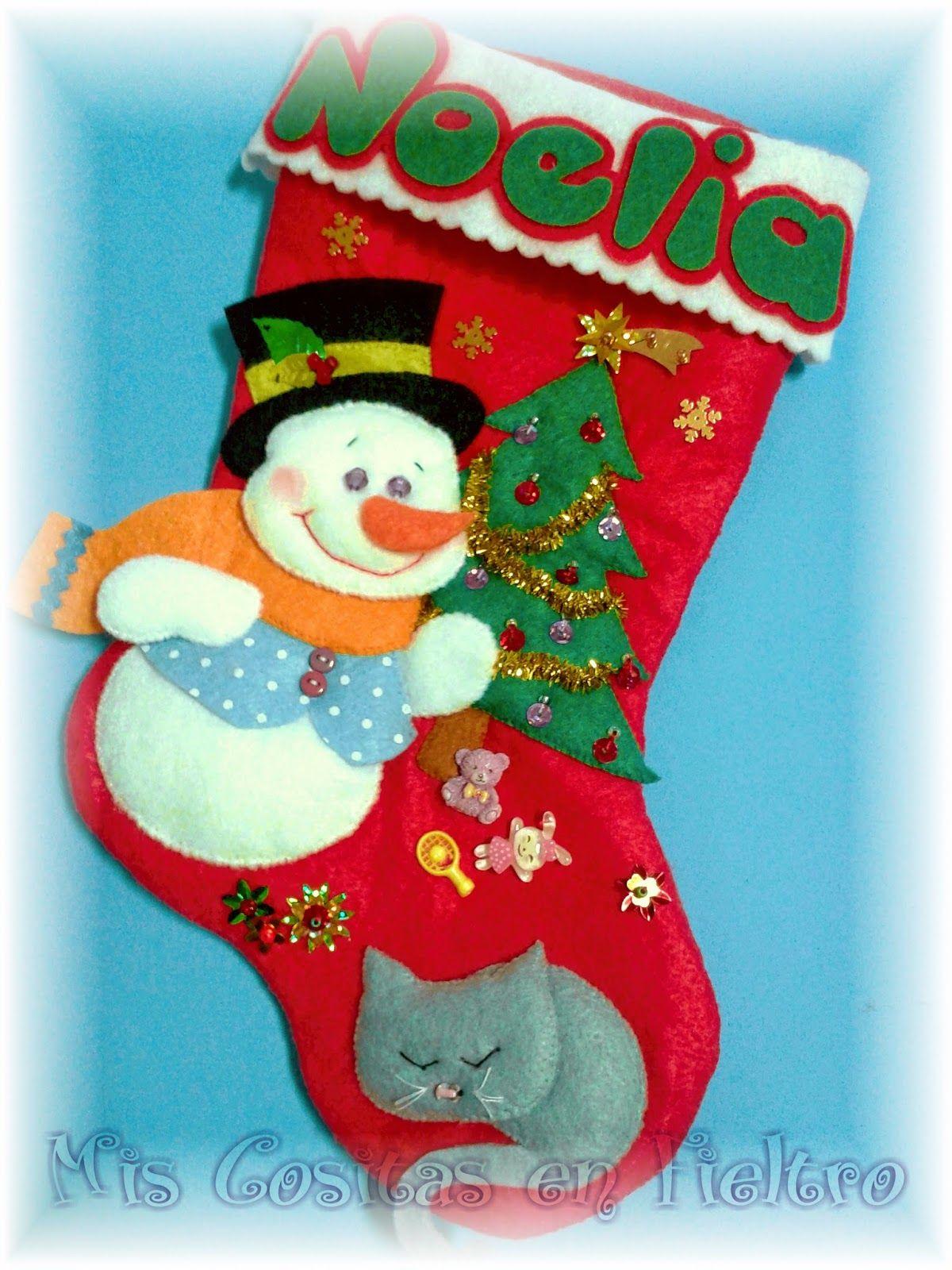 Calcet n de navidad mu eco de nieve en fieltro adornos - Calcetin de navidad ...