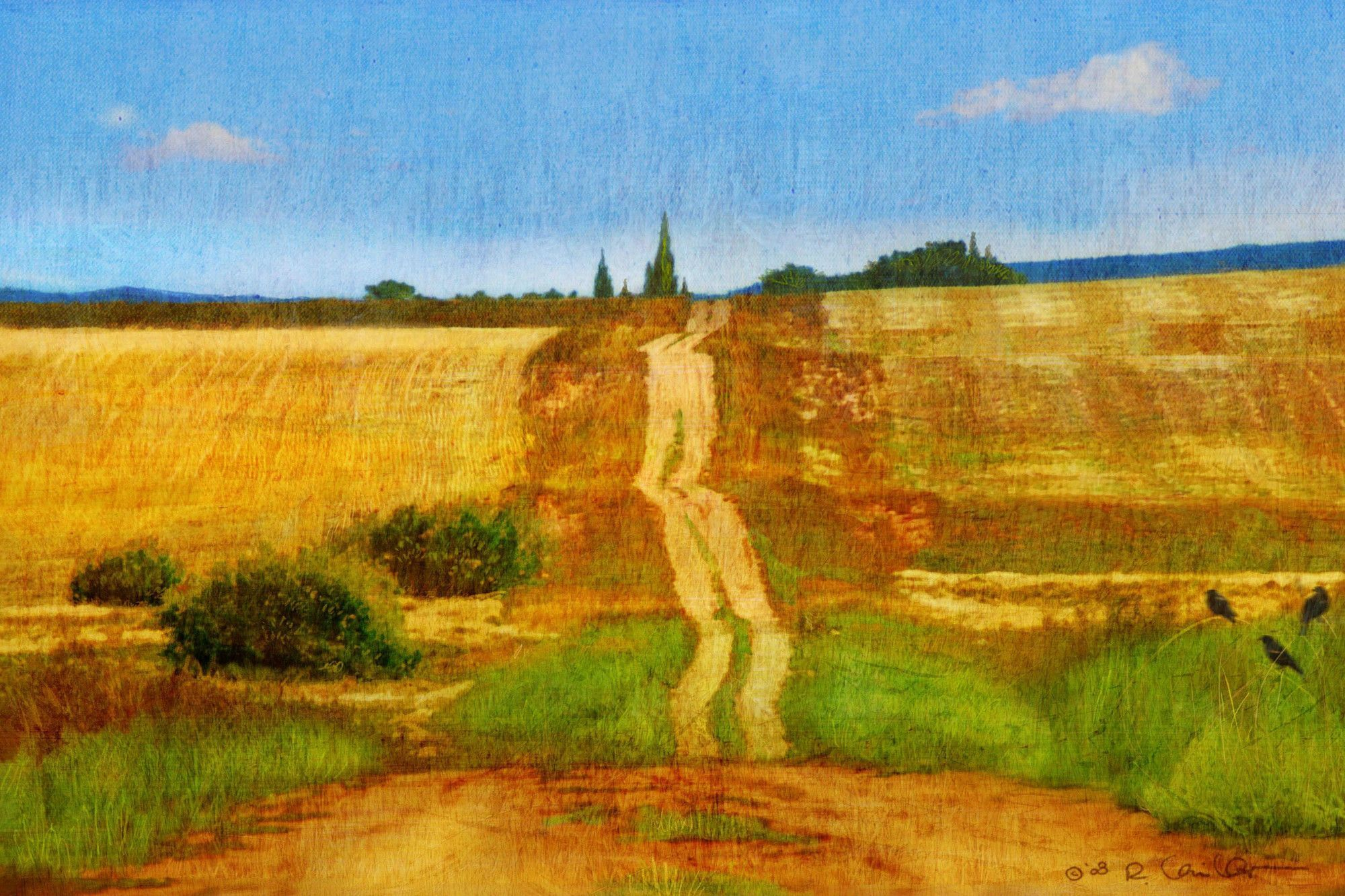 Impressionist Road\' by Chris Vest Painting Print on Wrapped Canvas ...