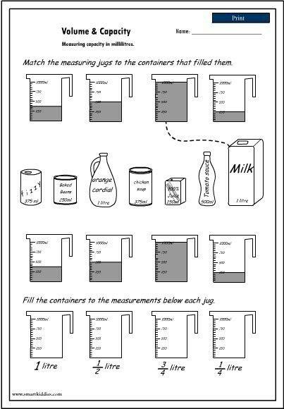 measuring volume school capacity worksheets teaching math capacity activities. Black Bedroom Furniture Sets. Home Design Ideas