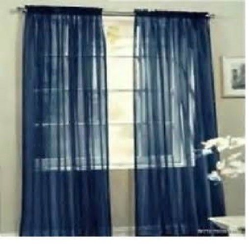 Navy Sheer Voile Panel Amp Scaves Drape Curtain Window