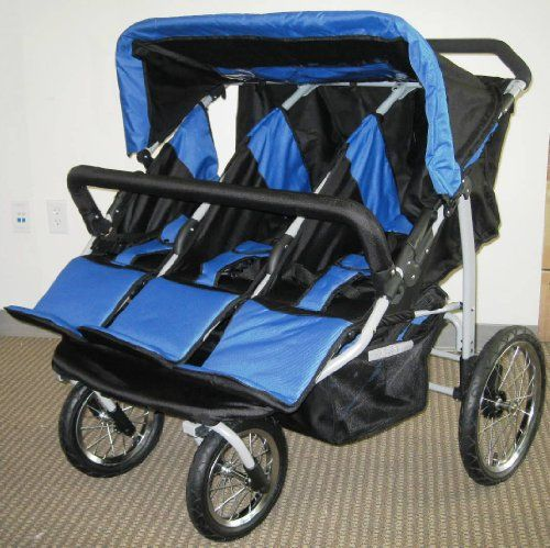 Blue and Black Triple Trio Baby Jogger Stroller with Rain Canopy - Free Matching Carry Bag & Blue and Black Triple Trio Baby Jogger Stroller with Rain Canopy ...