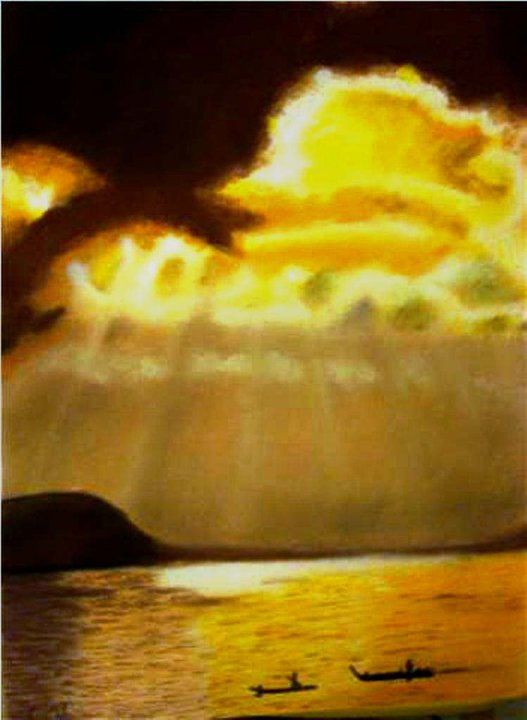 Sunsets On The Amazon River Dry Pastel Painting Of Brazilian