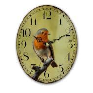 This practical and pretty oval clock features a Robin on a branch and would make a stylish addition to any home The clock has black fancy hands and