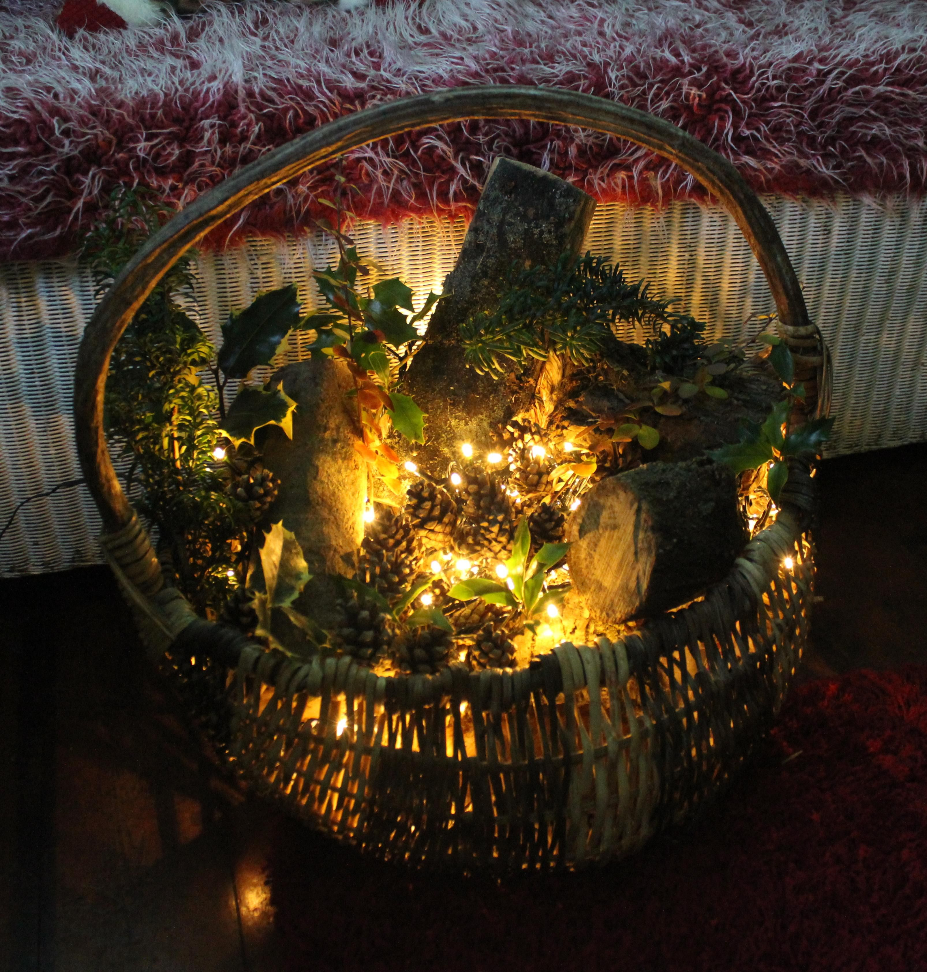 diy project make a rustic basket decoration for christmas