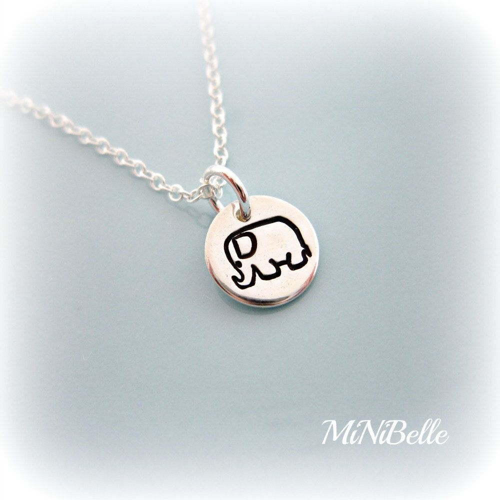 Little Elephant Necklace. Handstamp Elephant Necklace. Sterling Silver Necklace. Elephant Necklace. $18.00, via Etsy. idea for Lauren's bday?