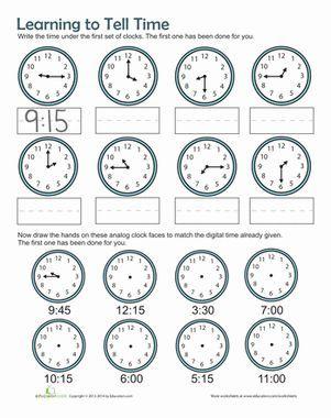 1st grade Math Worksheets: Reading digital clocks | GreatSchools