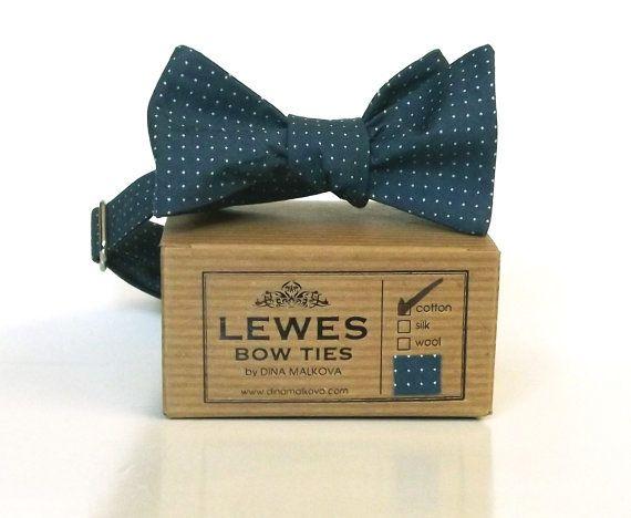 Men's Bow Tie - Blue Cotton Polka Dot