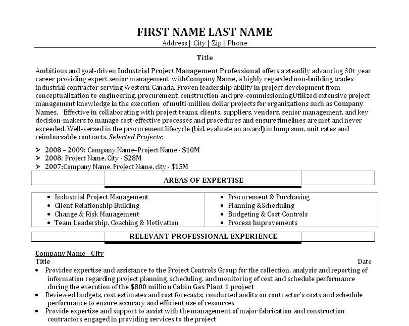 Click Here to Download this Industrial Project Manager Resume - sample risk management resume